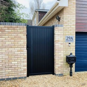 Flat Top Pedestrian Gate, Vertical Solid Infill (Privacy)